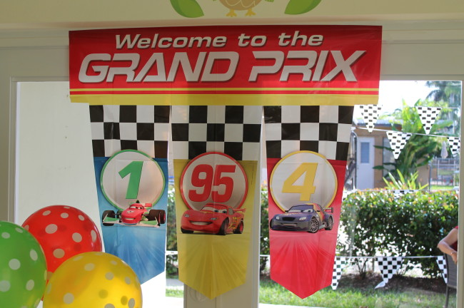 A Grand Prix Welcome Sign added a nice touch to the crafts area.
