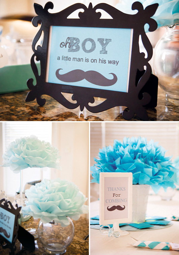 Aqua Little Man Mustache Baby Shower Featured At Hwtm Fetes De Lili